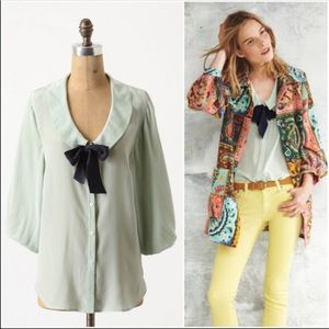 Anthropologie Odille Slouch Sailor Blouse In Mint